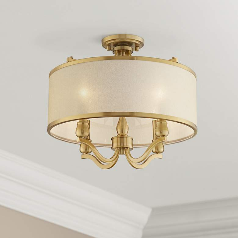 "Nor 18"" Wide Antique Brass Traditional Ceiling Light"