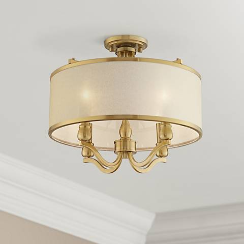 "Possini Euro Nor 18"" Wide Brass 4-Light Ceiling Light"