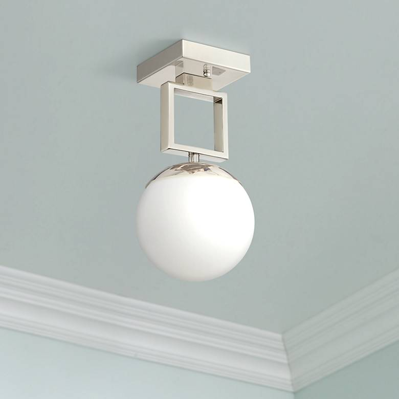 "Possini Euro Venetia 7""W Polished Nickel LED Ceiling Light"