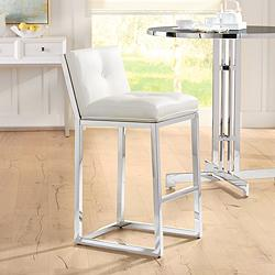 "Alba 30"" White Faux Leather Tufted Bar Stool"