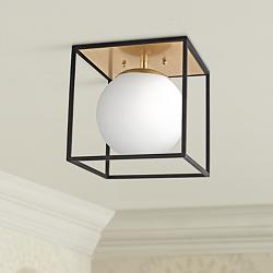 "Mitzi Aira 14"" Wide Aged Brass Ceiling Light"