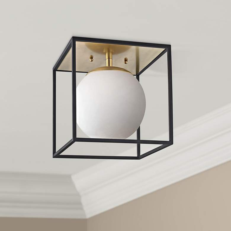 "Mitzi Aira 9 1/2"" Wide Aged Brass Ceiling"