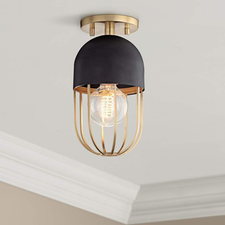 "Mitzi Haley 5 1/2"" Wide Aged Brass Ceiling Light"