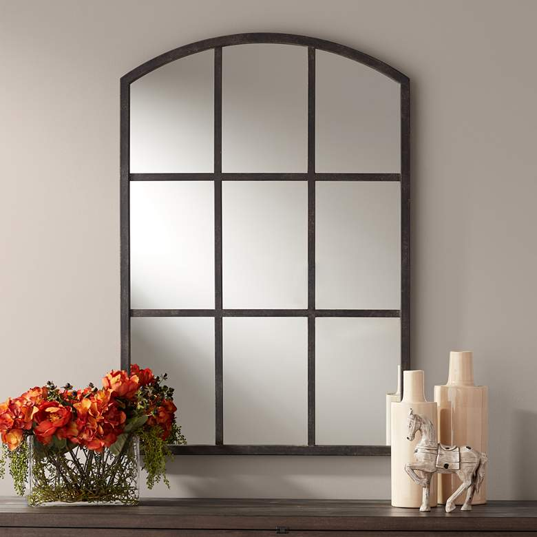 "Beverly 30"" x 44"" Antique Black Arched Wall Mirror"