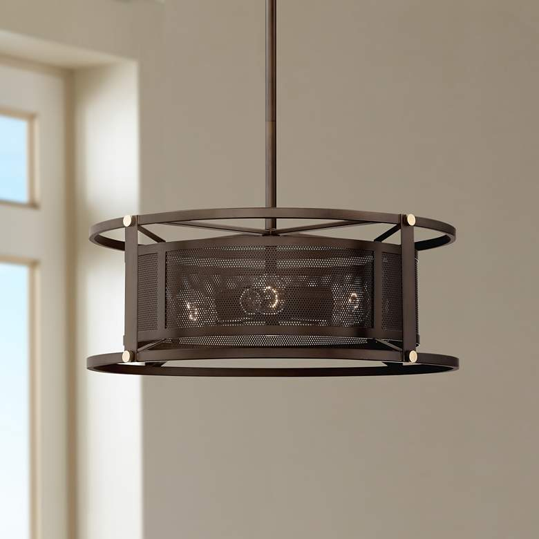 "Derek 20"" Wide Oil-Rubbed Bronze 4-Light Pendant"