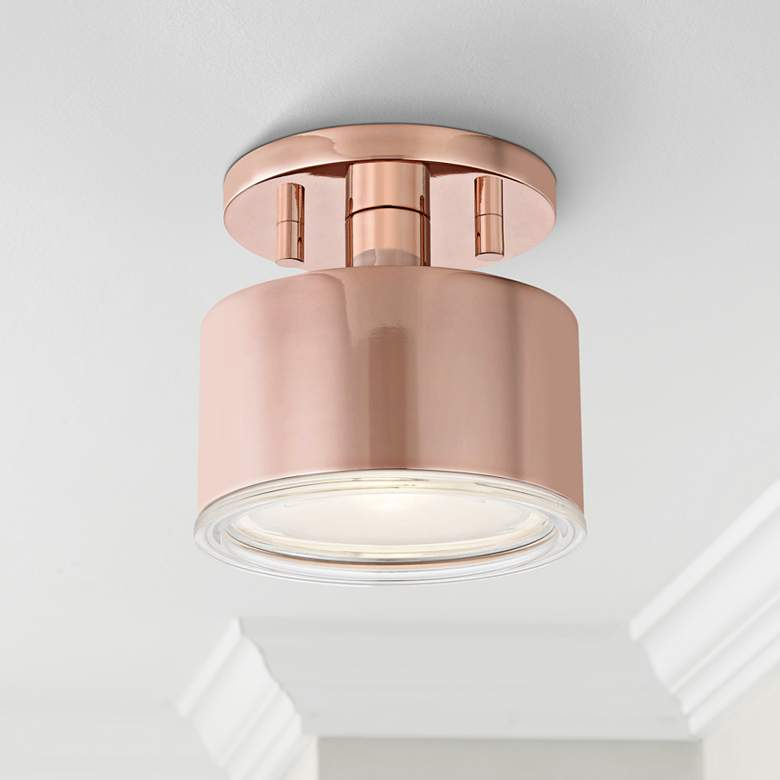 "Mitzi Nora 5 1/4"" Wide Polished Copper LED Ceiling Light"