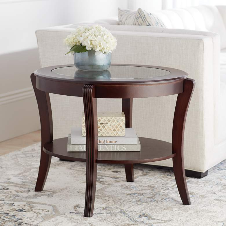 Pierre Espresso Brown Oval End Table