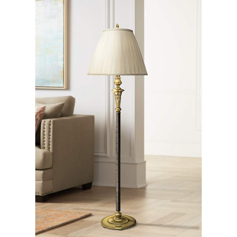 Stiffel Camille Burnished Brass and Faux Black Leather Floor Lamp