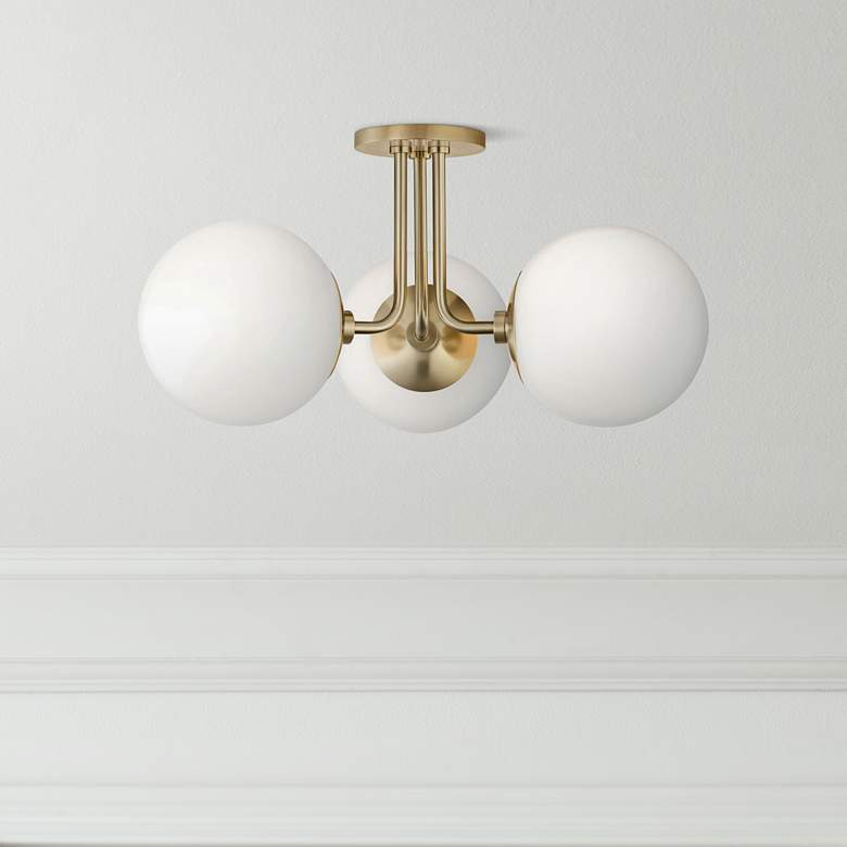 "Mitzi Stella 24"" Wide Aged Brass 3-Light Ceiling Light"