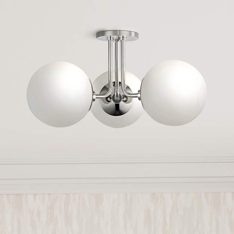 "Mitzi Stella 18 1/4""W Polished Nickel 3-Light Ceiling Light"