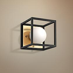 "Mitzi Aira 5"" High Aged Brass LED Wall Sconce"