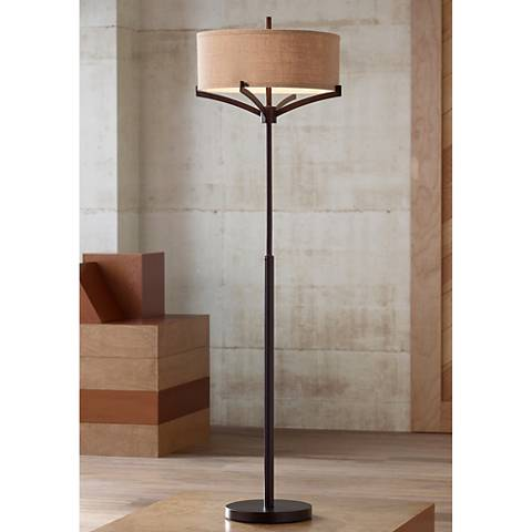 Tremont Burlap Shade Bronze Floor Lamp with 8W LED Bulbs