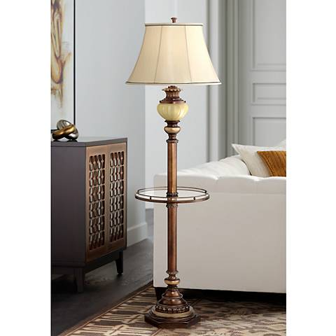 Kathy Ireland Bronze Night Light Floor Lamp with 9W LED Bulb