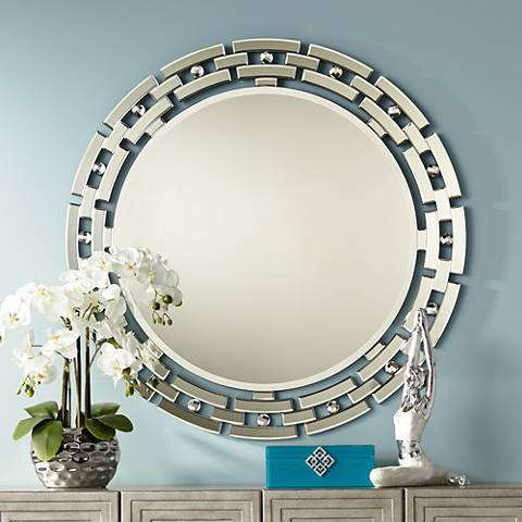 "Aran 36 1/4"" Round Glass Wall Mirror by Possini Euro Deisgn"