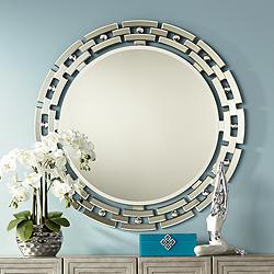 "Possini Euro Aran Glass 36 1/4"" Round Wall Mirror"