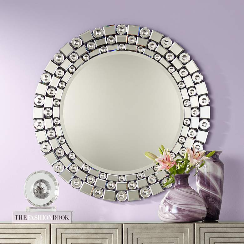 "Possini Euro Orleans Bubble Glass 32"" Round Wall Mirror"