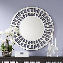"Possini Euro Hannover 32"" Round Glass Wall Mirror"
