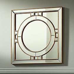 "Possini Euro Kinnerton Gold Inlay 36"" Square Wall Mirror"