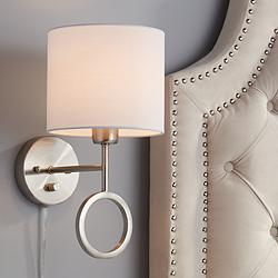 Amidon Brushed Nickel Drop Ring Plug-In Wall Lamp
