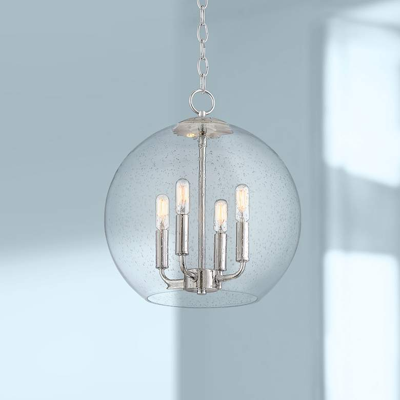"Lovell 14"" Wide Chrome and Clear Glass 4-Light Orb Pendant"