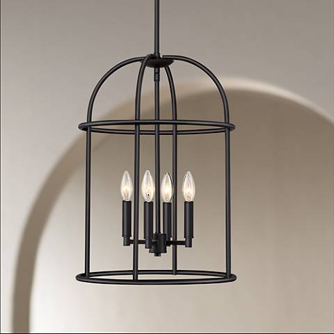 "Possini Euro Canary 15"" Wide Bronze 4-Light Foyer Pendant"