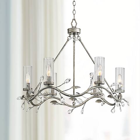"Possini Euro Mala 27"" Wide Antique Silver 6-Light Chandelier"