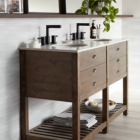 "Crosett Cayhill 57"" Wide Cultured Marble Double Sink Vanity"