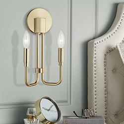 "Mitzi Brigitte 12 1/2"" High Aged Brass 2-Light Wall Sconce"