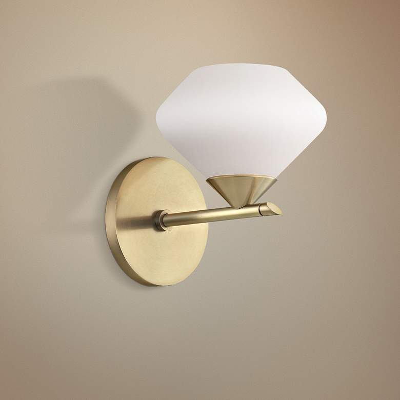"Mitzi Valerie 7"" High Aged Brass Wall Sconce"