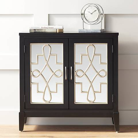 Mansfield Black and Mirrored 2-Door Accent Media Cabinet