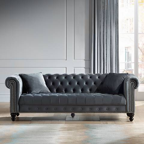 Jordan Tufted Dark Gray Velvet Sofa