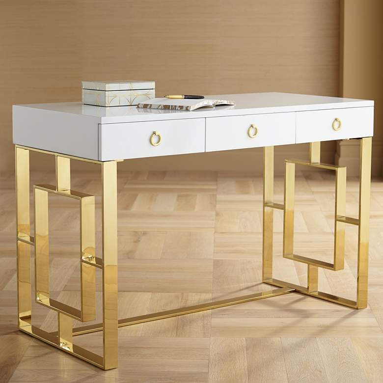 "Baccarat 47"" Wide White Lacquer and Gold Writing Desk"