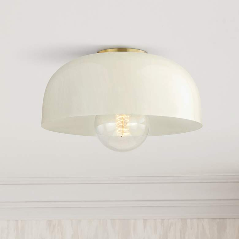 "Mitzi Avery 14"" Wide Aged Brass Ceiling Light w/ Cream Shade"