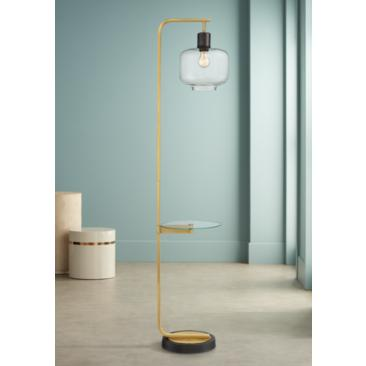 Possini Euro Milan Floor Lamp with Glass Tray