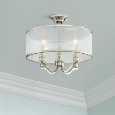 "Nor 18"" Wide Polished Nickel Traditional Ceiling Light"