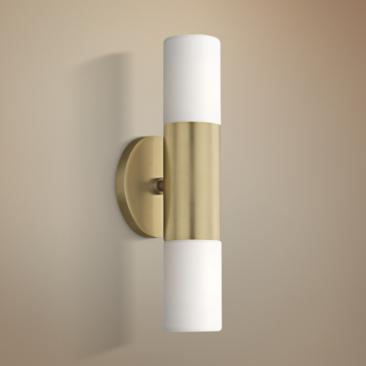"Mitzi Lola 13"" High Aged Brass 2-Light LED Wall Sconce"