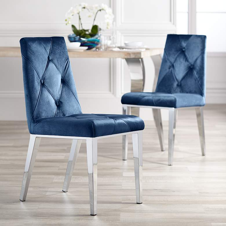 Pleasant Allison Blue Velvet Dining Chairs Set Of 2 Machost Co Dining Chair Design Ideas Machostcouk