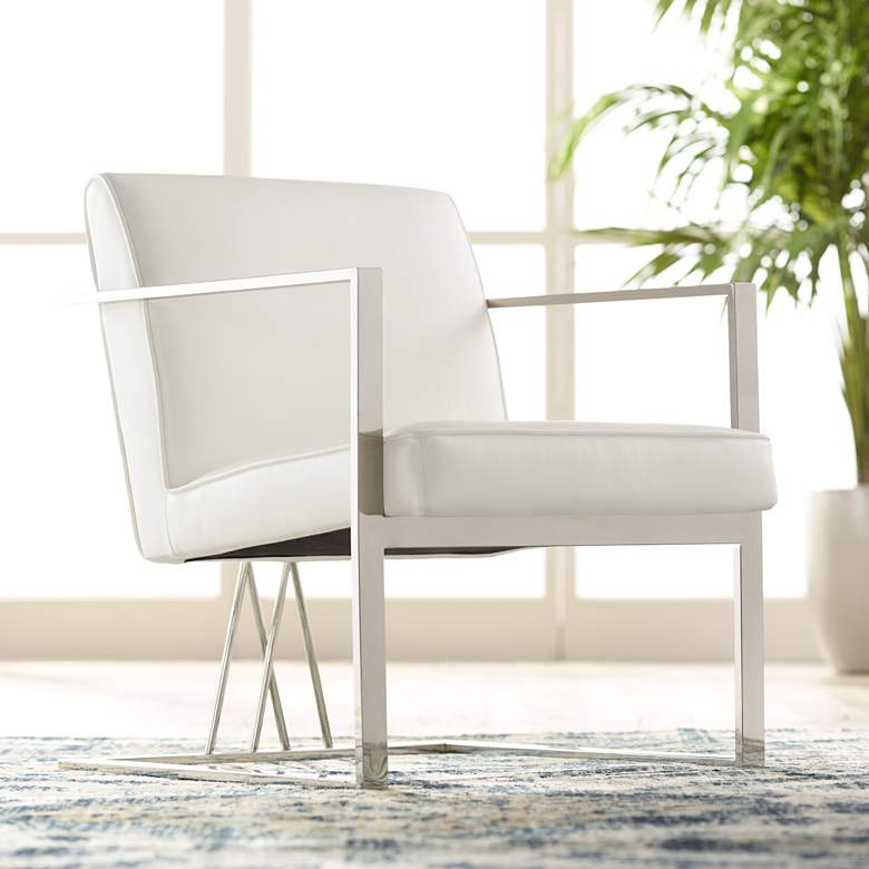 Surprising Fairmont White Faux Leather Accent Chair Machost Co Dining Chair Design Ideas Machostcouk