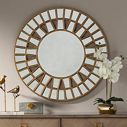 "Possini Euro Mosaic Gold Leaf 33"" Sunburst Wheel Wall Mirror"
