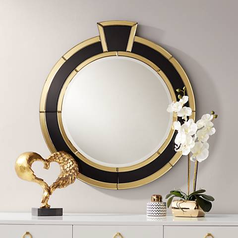 "Mae Gold and Black Ring 30"" x 32 1/2"" Round Wall Mirror"