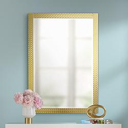 "Allegra Soft Gold 27 1/2"" x 39 1/4"" Rectangular Wall Mirror"