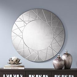 "Beatrix Etched Smoke Glass 33"" Round Wall Mirror"