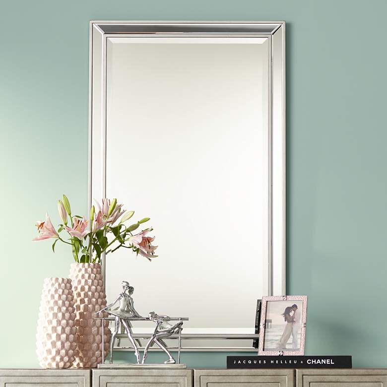 "Helena Antique Silver 25"" x 42"" Rectangular Wall Mirror"