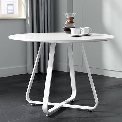 "Mason 43"" Wide High Gloss White Round Dining Table"