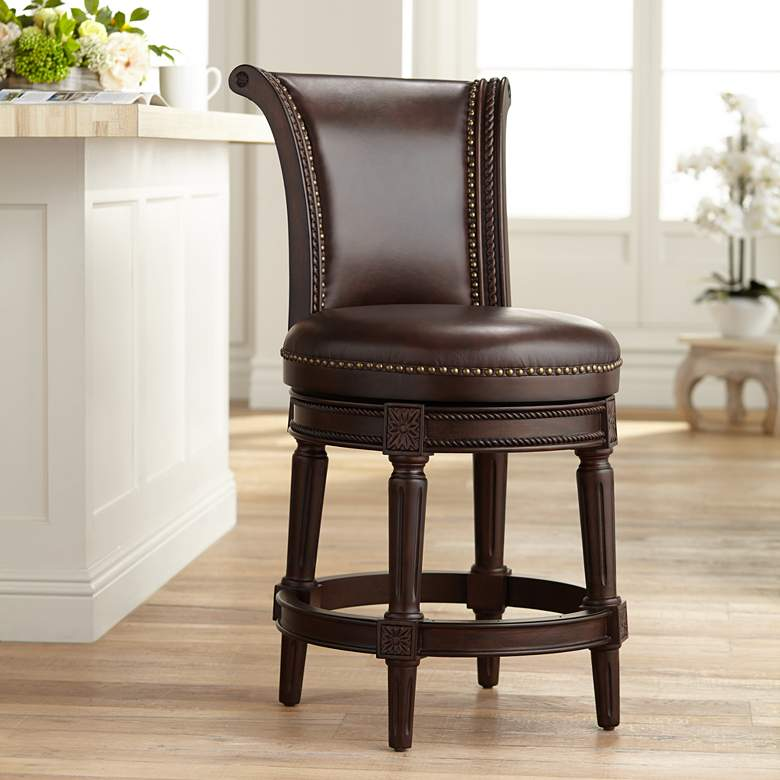 Fabulous Addison 24 1 2 Mocha Leather Swivel Counter Stool 47C18 Short Links Chair Design For Home Short Linksinfo