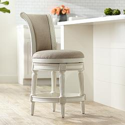 "Oliver 24 1/2"" Cream Fabric Scroll Back Swivel Counter Stool"