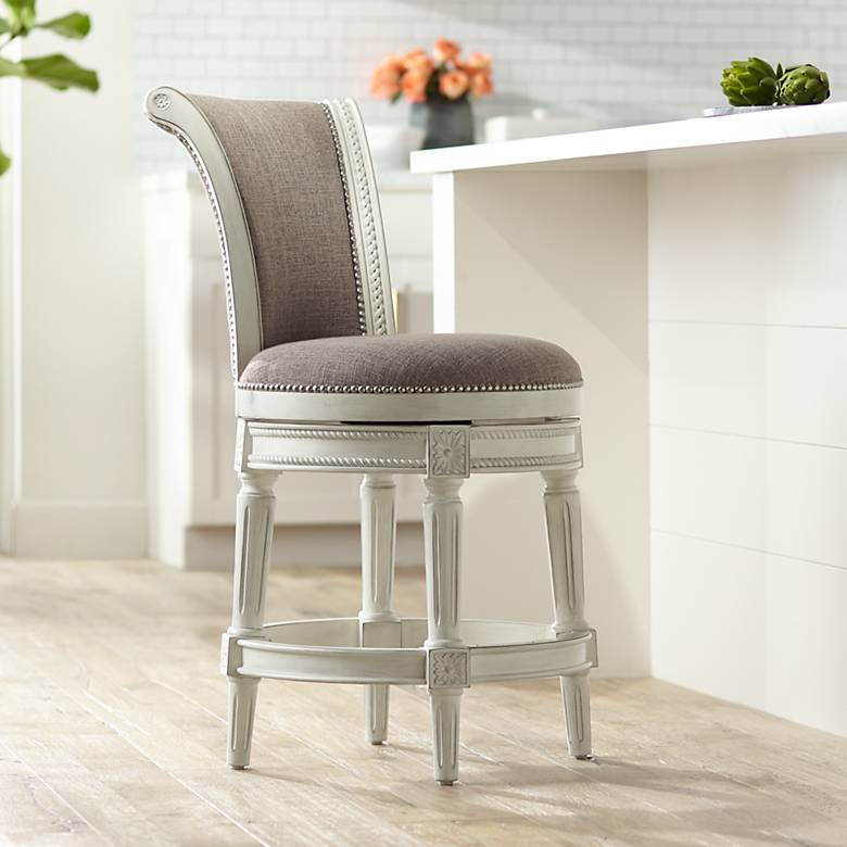 "Oliver 24"" Pewter Fabric Scroll Back Swivel Counter Stool"