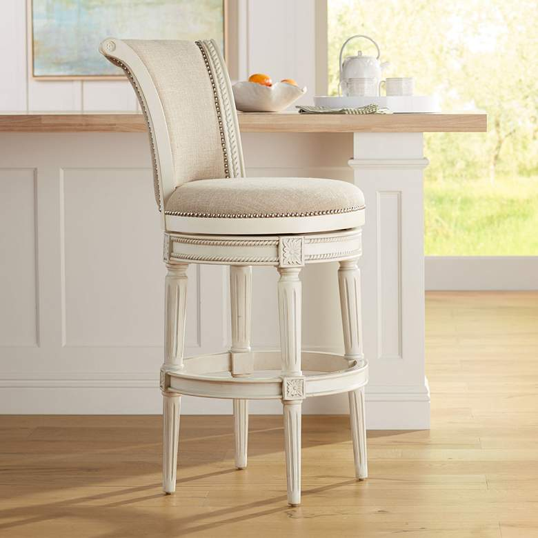 Amazing Oliver 30 Cream Fabric Scroll Back Swivel Bar Stool Andrewgaddart Wooden Chair Designs For Living Room Andrewgaddartcom