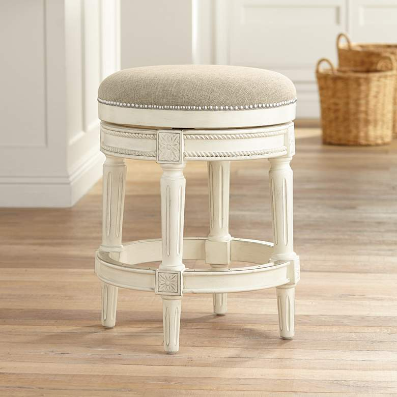 Miraculous Oliver 24 Cream Fabric Backless Swivel Seat Counter Stool Uwap Interior Chair Design Uwaporg