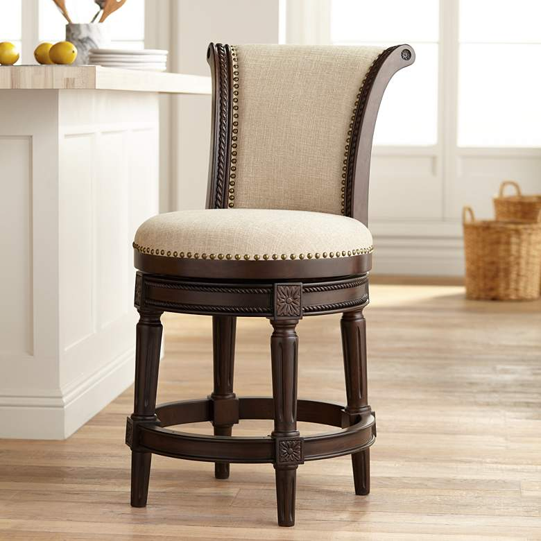 "Addison 24 1/2"" Erin Cream Fabric Swivel Counter Stool"